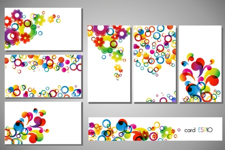 colorful business cards on white background Vector