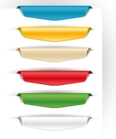 etiquetas en blanco de papel de colores para la web