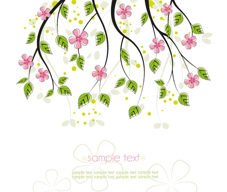 branch with pink flowers on a white background Vector