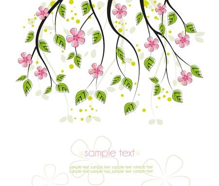 fleur de cerisier: branche avec des fleurs roses sur un fond blanc