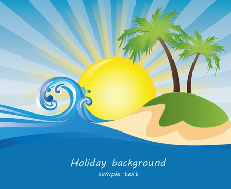 tidal wave: Summer themed beach illustration background with place for text