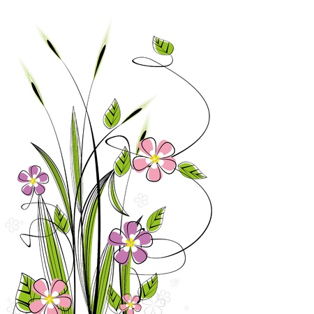 grunge border: grass with flowers on white background