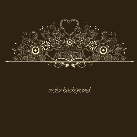 wedding backdrop: decoration with flowers on brown background Illustration