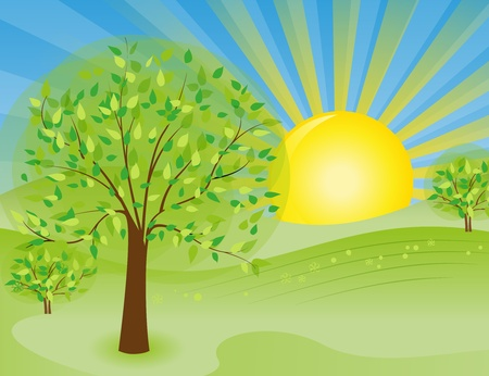 cartoon sun: sunny rural landscape with trees Illustration