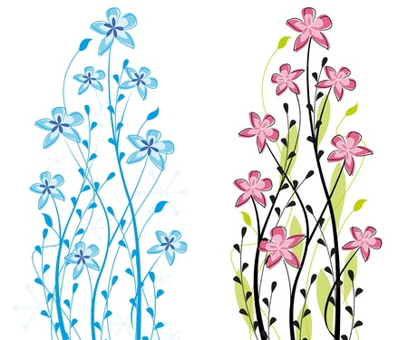 Two themed decorative flower on a white background Stock Vector - 13126475