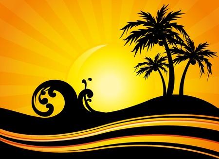 férias de verão à beira-mar Ilustração