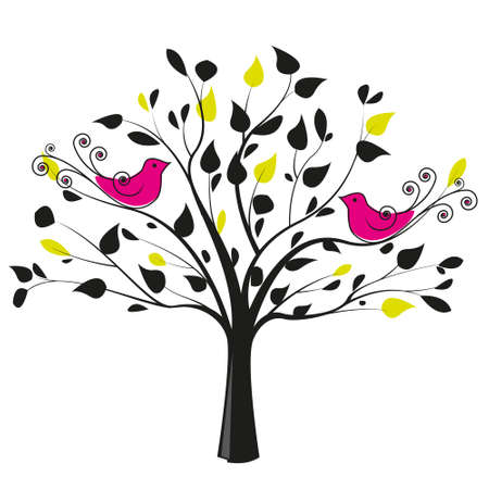 tree with a pair of birds on a white background Vector