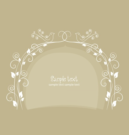 Floral greeting card with doves Stock Vector - 13251079