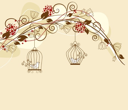 floral decoration par with caged birds Stock Vector - 13282009
