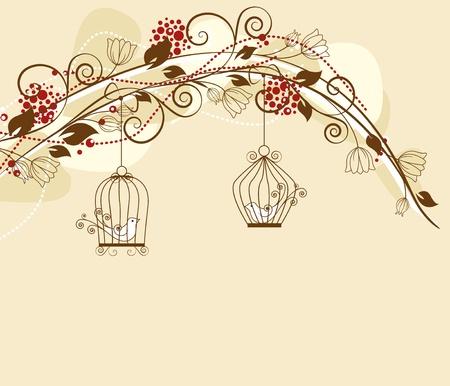 floral decoration par with caged birds