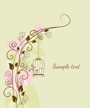 floral decorations with a bird in a cage Illustration