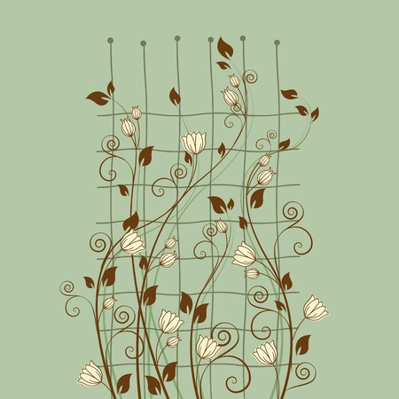 floral decoration on a green background Vector