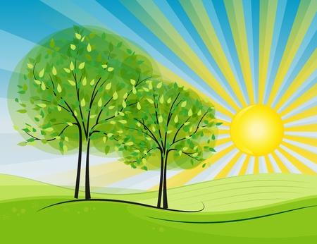 太陽は田舎で起こっています。