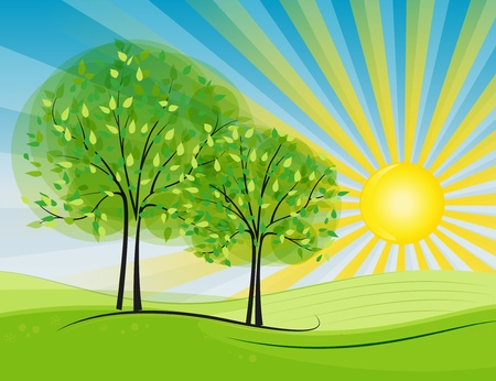 Sun happening in the countryside Stock Vector - 13312543