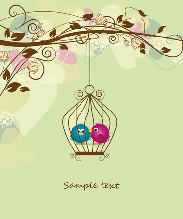 two colorful birds in a cage Vector