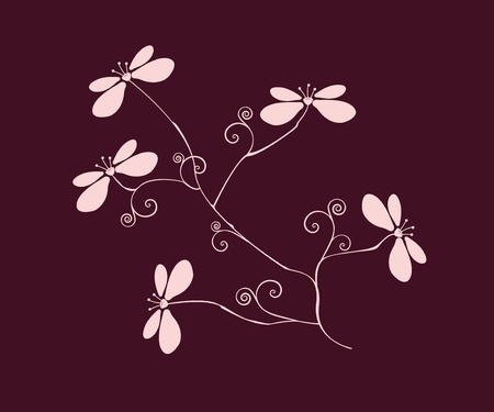 branch with decorative flowers on purple background Vector
