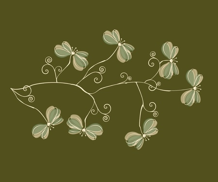 branch with decorative flowers on green background Vector