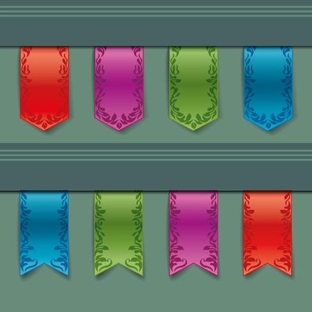 bookmark ribbon: vintage ribbon of different colors Illustration