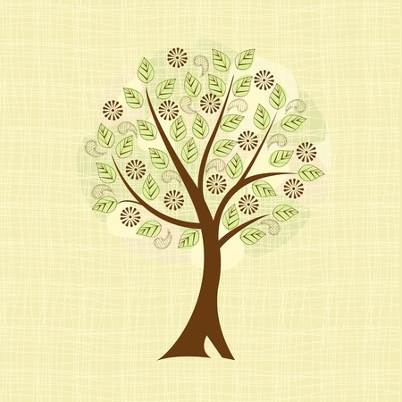 deciduous tree in the background fabric Vector