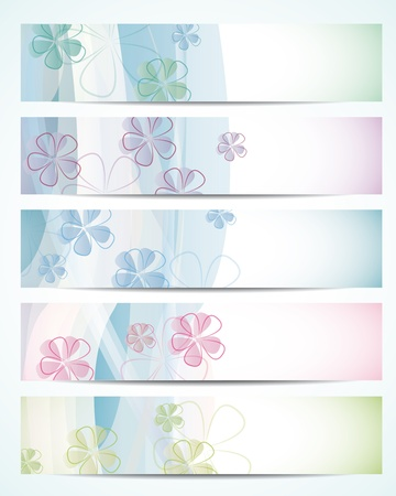 Set of abstract banners in pastel colors Vector