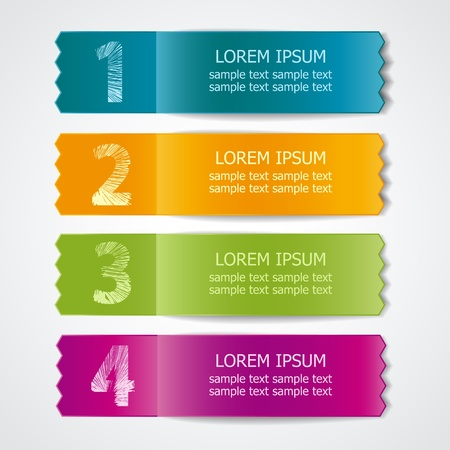 Vector set of colored ribbons for different sample options Illustration