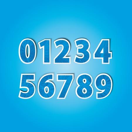 cijfer vier: stickers met cijfers van 0 tot 9 in de kleur blauw Stock Illustratie