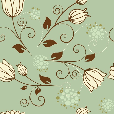 seamless pattern with flowers on a green background Vector
