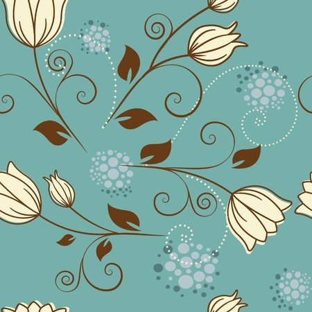 seamless pattern with flowers on a blue background Vector