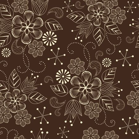 seamless pattern with flowers on a brown background Stock Vector - 13548215