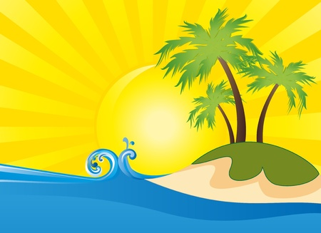 Summer themed beach illustration background  Vector