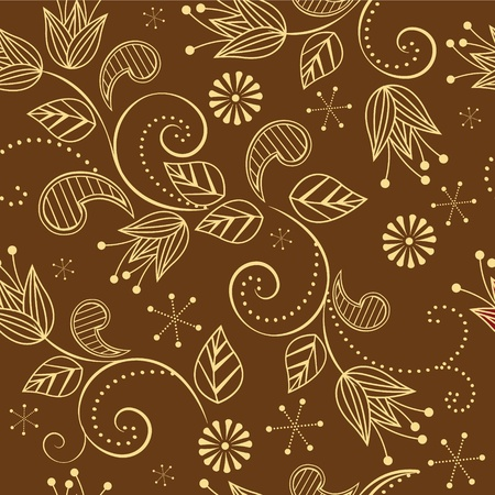 seamless pattern with flowers on a brown background Stock Vector - 13591292