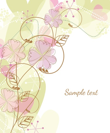 pink and brown: floral frame with place for text Illustration