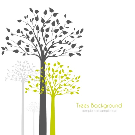 botanical branch: trees with leaves on white background Illustration