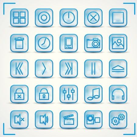 Blue icons set for audio and computer Stock Vector - 13729918