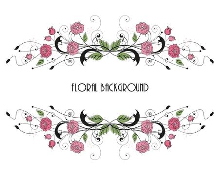 bordures fleurs: cadre de roses floral avec place pour le texte