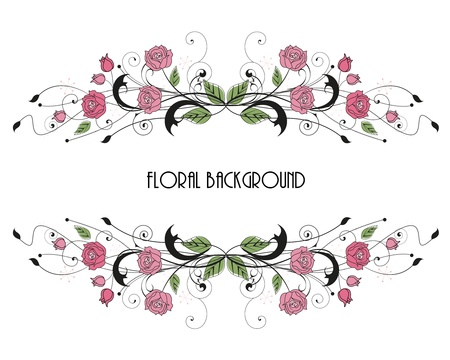 grunge border: roses floral frame with place for text