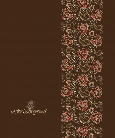 brown background decorated with red roses Vector