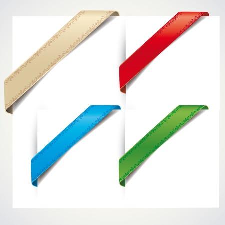 rubans coin coloré sur un fond blanc
