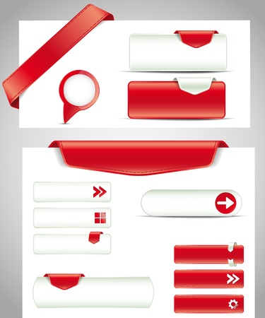 set of red buttons, banners, bookmarks for your site