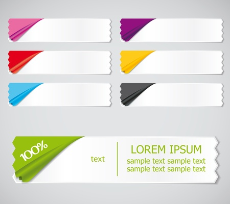 set of colored stickers, ribbons options for different samples