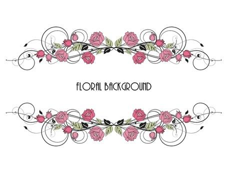 rozen decoratie op witte achtergrond Stock Illustratie