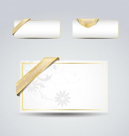 golden vintage ribbons on white paper , set banner