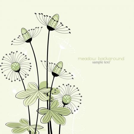 flores del prado sobre un fondo verde Ilustración de vector