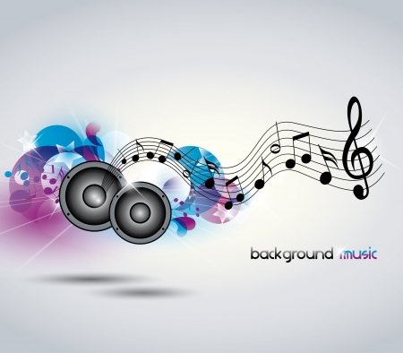disco symbol: Abstract music background with music and speakers