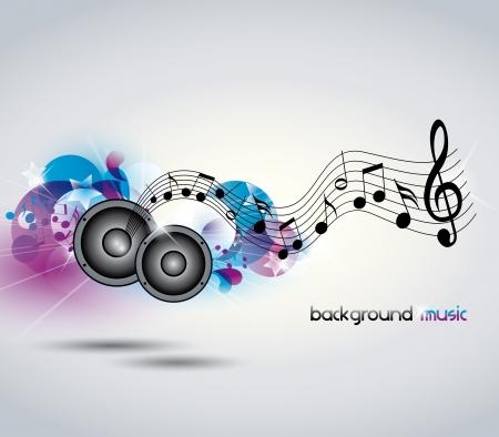 simbolos musicales: Resumen de m�sica de fondo con la m�sica y los altavoces