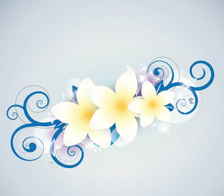 beautiful tropical flowers in the background Vector