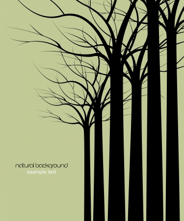 urban jungle: dark trees without leaves on green background Illustration