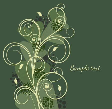 Beautiful vintage on green background Stock Vector - 14036383