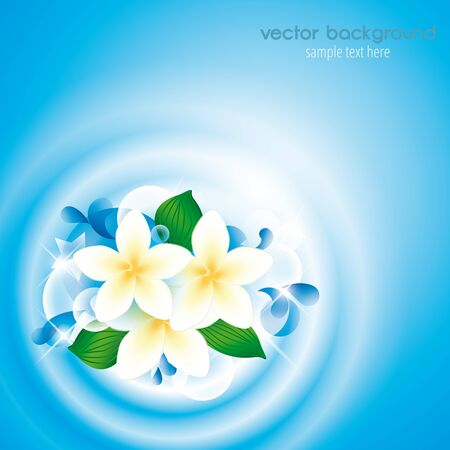 tranquility: flowers in clean water with place for text Illustration