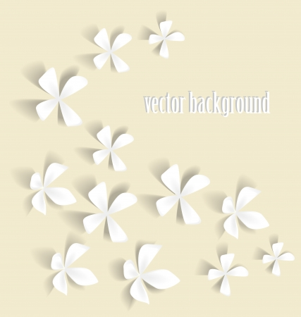 scroll shape: Romantic white flowers on a light background Illustration